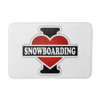 I Love Snowboarding Bath Mat