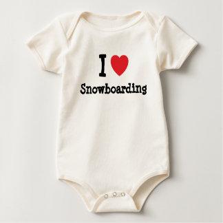 I love Snowboarding heart custom personalized Bodysuit