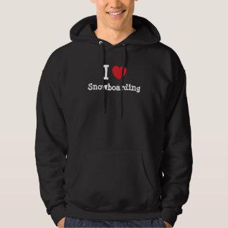 I love Snowboarding heart custom personalized Hooded Sweatshirts