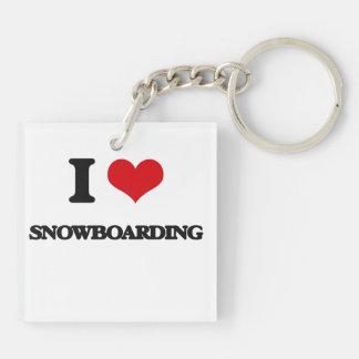 I love Snowboarding Double-Sided Square Acrylic Keychain