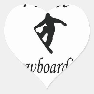 I Love Snowboarding Heart Sticker