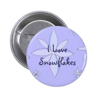 I Love Snowflakes 6 Cm Round Badge