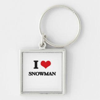 I love Snowman Silver-Colored Square Keychain