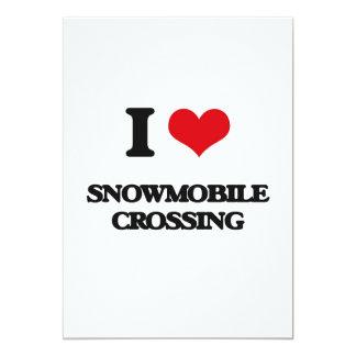 """I love Snowmobile Crossing 5"""" X 7"""" Invitation Card"""