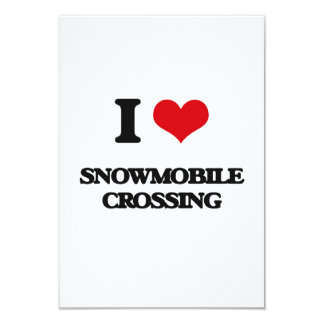 """I love Snowmobile Crossing 3.5"""" X 5"""" Invitation Card"""