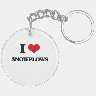 I love Snowplows Double-Sided Round Acrylic Keychain