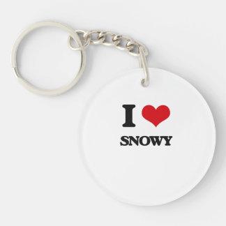 I love Snowy Single-Sided Round Acrylic Keychain