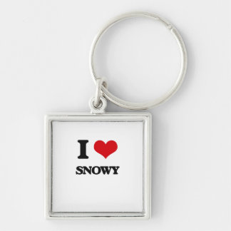 I love Snowy Silver-Colored Square Keychain