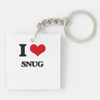 I love Snug Double-Sided Square Acrylic Keychain