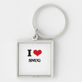 I love Snug Silver-Colored Square Keychain