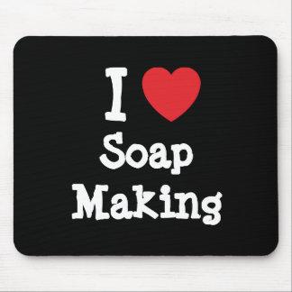 I love Soap Making heart custom personalized Mouse Mats