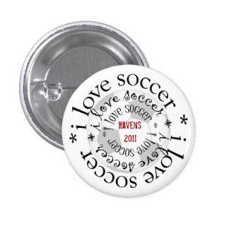 i love soccer 3 cm round badge