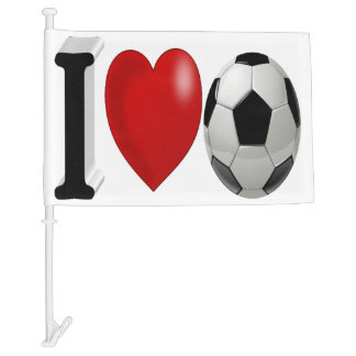 I Love Soccer 3D Car Flag