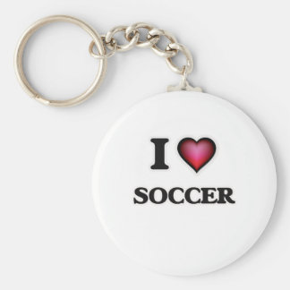 I Love Soccer Basic Round Button Key Ring