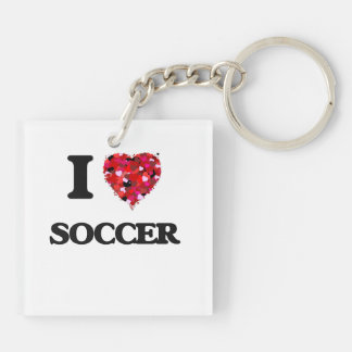 I Love Soccer Double-Sided Square Acrylic Key Ring
