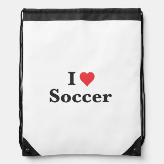 I Love Soccer Drawstring Backpack