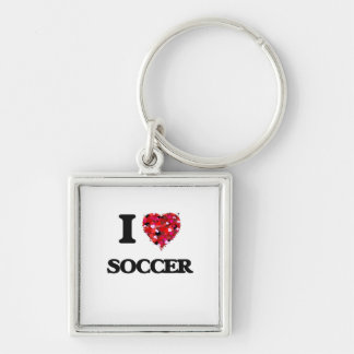 I Love Soccer Silver-Colored Square Key Ring