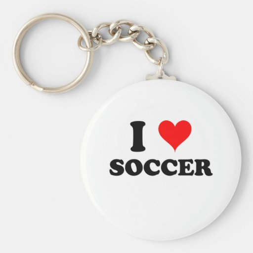 I Love Soccer Keychains