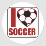 I love soccer! round stickers