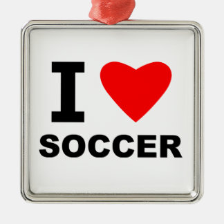I Love Soccer Silver-Colored Square Decoration