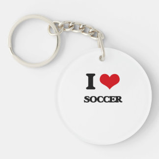 I Love Soccer Single-Sided Round Acrylic Key Ring