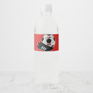 I Love Soccer, soccer ball and shoe Water Bottle Label