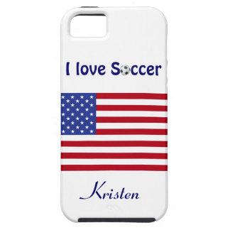 I Love Soccer/Soccer Ball-U.S. flag+Name iPhone 5 Cover