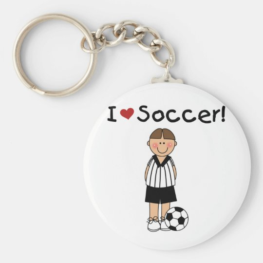 I Love Soccer T-shirts and Gifts Basic Round Button Key Ring