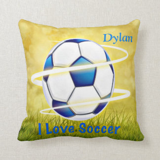 I Love Soccer With Monogram Cushion