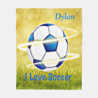 I Love Soccer With Monogram Fleece Blanket