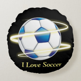 I Love Soccer With Monogram Round Cushion
