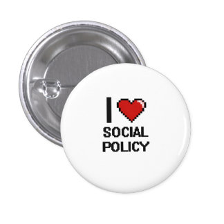 I Love Social Policy Digital Design 3 Cm Round Badge