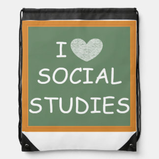 I Love Social Studies Drawstring Backpack