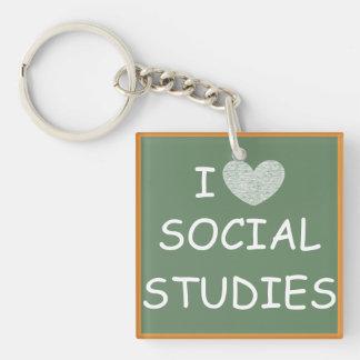 I Love Social Studies Single-Sided Square Acrylic Key Ring