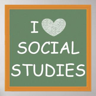 I Love Social Studies Poster