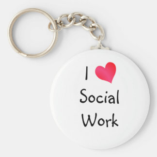 I Love Social Work Basic Round Button Key Ring