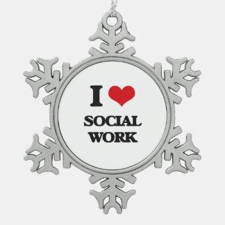 I Love Social Work Pewter Snowflake Decoration