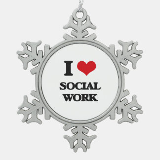 I Love Social Work Snowflake Pewter Christmas Ornament