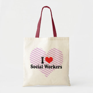 I Love Social Workers Tote Bags