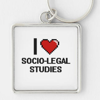 I Love Socio-Legal Studies Digital Design Silver-Colored Square Keychain