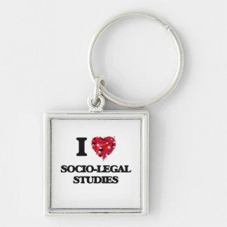 I Love Socio-Legal Studies Silver-Colored Square Key Ring