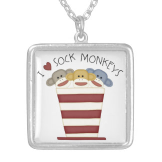 I LOVE SOCK MONKEY  Silver Necklace