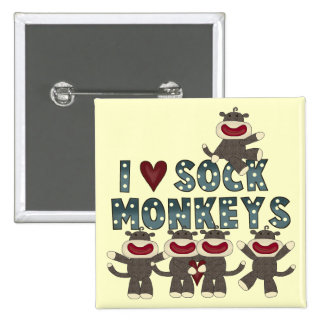 I Love Sock Monkeys Tshirts and Gifts 15 Cm Square Badge