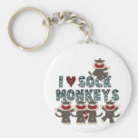 I Love Sock Monkeys Tshirts and Gifts Basic Round Button Key Ring
