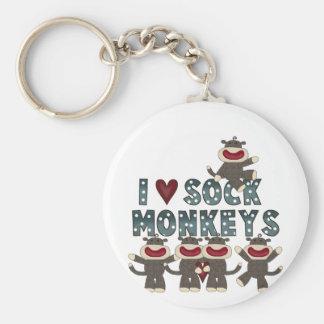 I Love Sock Monkeys Tshirts and Gifts Keychain