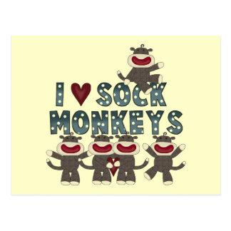 I Love Sock Monkeys Tshirts and Gifts Postcard