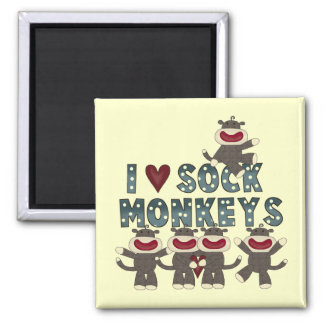 I Love Sock Monkeys Tshirts and Gifts Square Magnet