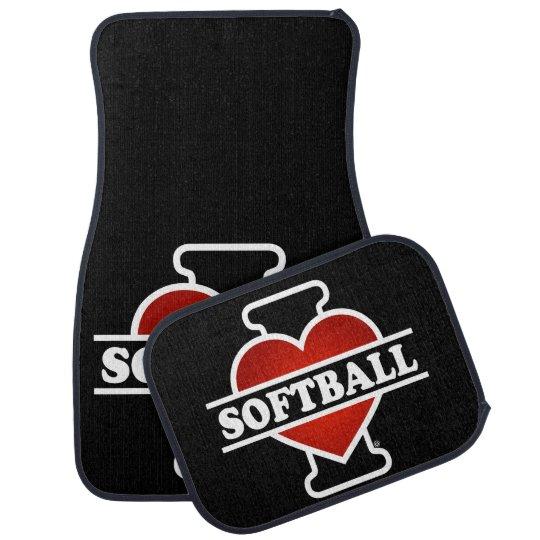 I Love Softball Car Mat