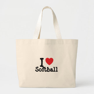 I love Softball heart custom personalized Large Tote Bag
