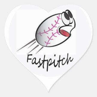 I Love Softball Heart Sticker